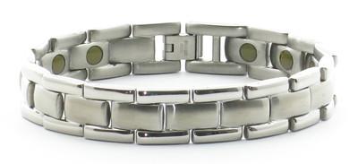 24/7 Silver Bricks - Samarium Cobalt - Stainless Steel Magnetic  Bracelet