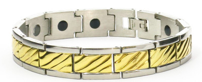 Gold Tone Mountains - Stainless Steel Magnetic Therapy  Bracelet