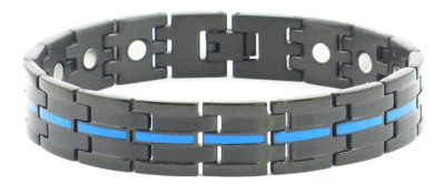Blue Line - Powerful Stainless Steel Magnetic Bracelet With  5,000 Gauss Magnets Per Link
