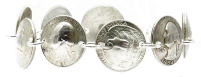 Handmade 90% Silver Quarters / .925 Sterling Silver Magnetic Bracelet