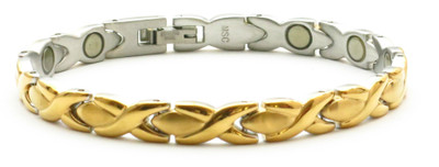 NS-5 - Gold Tone Stainless Steel Magnetic  Bracelet