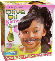 Double Sheen Organic Olive Oil Relaxer  (For kids Regular) USA 2 Complete Applications