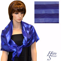 Satin Sripe Scarf Jumbo Solid Color-Purple Blue