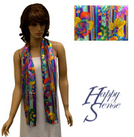 Satin Stripe Scarf Long Flower & Stripe (SSPO 1459)