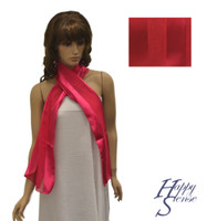 Satin Stripe Scarf Long Solid Color Fuchsia (SSSO Fuchsia)