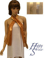 Satin Stripe Scarf Long Solid Color Gold