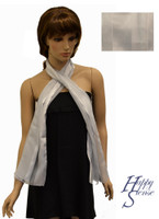 Satin Stripe Scarf Long Solid Color Silver (SSSO Silver)