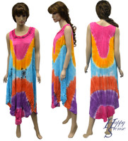 Tie Dye Dress Embroidered (67423-Blue)