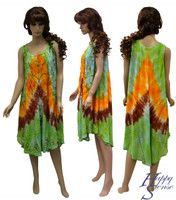 Tie Dye Dress Embroidered (66953-Green)