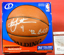 CHRISTIAN LAETTNER AUTOGRAPHED NBA BASKETBALL OLYMPIC DREAM TEAM JSA GOLD DUKE