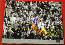 MATT LEINART REGGIE BUSH AUTOGRAPHED USC TROJANS 16X20 SEPIA PHOTO THE PUSH HOLO