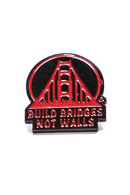 Red Build Bridges Not Walls Pin