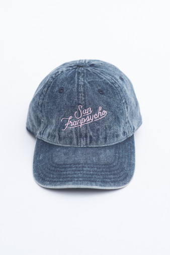 abccbee744a Denim Dad Hat with Pink Script - San Franpsycho