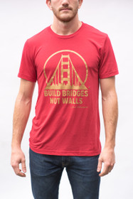 Red & Gold Build Bridges Not Walls Tee