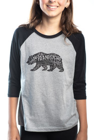 Grey Cali Bear Youth Baseball Tee
