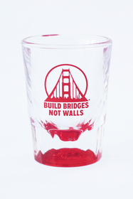 Red Build Bridges Not Walls Shot Glass