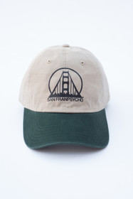 Tan & Forest Green Dad Hat