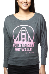 Charcoal & Pink Build Bridges Not Walls Longsleeve
