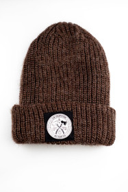 Brown Mohair Beanie with Black  No Frontier Patch