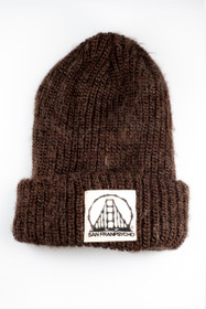 Brown Mohair Beanie with SFP Bones logo