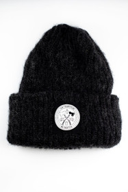 Black Mohair Beanie with Black No Frontier Patch