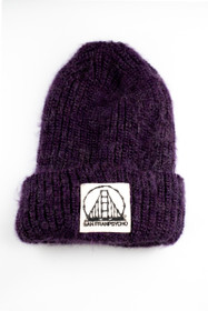 Purple Mohair Beanie with SFP Bones Logo