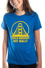 Blue & Yellow Build Bridges Not Walls Kids Tee