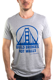 Grey & Blue Build Bridges Not Walls Tee