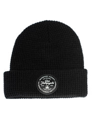 Black Waffle Beanie w/ Black Leather Patch