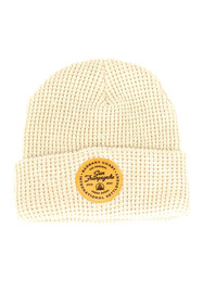 Tan Waffle Beanie w/ Tan Leather Patch