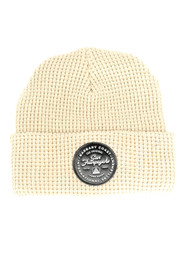 Tan Waffle Beanie w/ Black Leather Patch