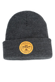 Grey Waffle Beanie w/ Tan Leather Patch