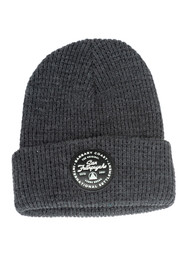 Grey Waffle Beanie w/ Black Leather Patch