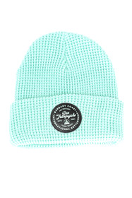 Mint Waffle Beanie w/ Black Leather Patch