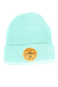 Mint Waffle Beanie w/ Tan Leather Patch