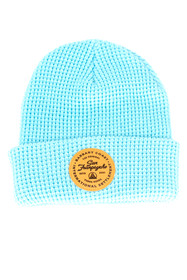 Baby Blue Waffle Beanie w/ Tan Leather Patch