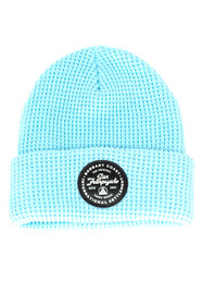 Baby Blue Waffle Beanie w/ Black Leather Patch
