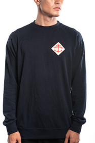 Navy Anchor Patched Crewneck