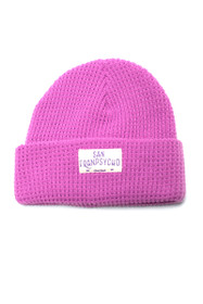 Magenta Waffle Beanie w/ Natural O.B. Script Patch