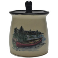 Sugar Jar - Canoe - Immerce yourself in the outdoors with the red canoe and an nature background.