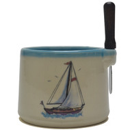 Dip Bowl with Spreader Knife - Sailboat
