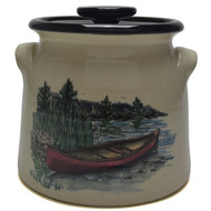 Bean Pot, 2 QT - Canoe -  Immerce yourself in the outdoors with the red canoe and an nature background.