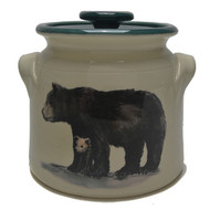 Bean Pot, 2 QT - Black Bear - When a mother black bear leads her cubs away from a den, her usual destination is a big tree where the cubs can take refuge from danger.