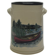 Wine Chiller - Canoe - Immerce yourself in the outdoors with the red canoe and an nature background.