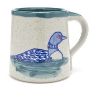 Coffee Mug - 14 oz - Loon - Hand decorated with green liner - Loons are water birds, a symbol of wilderness.