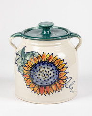 "Bean Pot - 2 QT - Hand decorated Sunflower with green liner - Sunflowers are the symbol of faith, loyalty and adoration. Sunflowers are known for being ""happy"" flowers, making them the perfect gift to bring joy to someone's (or your) day."