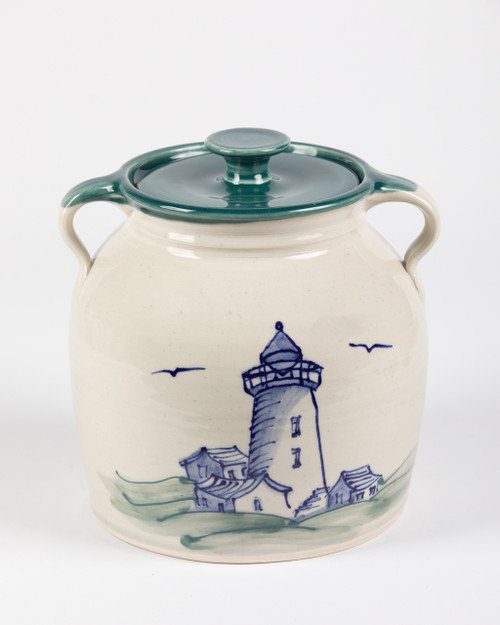 Bean Pot - 2 QT - Lighthouse hand decorated with green liner - A lighthoouse is a tower containing a powerful flashing lamp that is built on the coast or on a small island. Lighthouses are used to guide ships or to warn them of danger