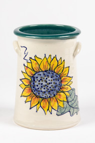 "Wine Chiller - Hand decorated sunflower with green liner - Sunflowers are the symbol of faith, loyalty and adoration. Sunflowers are known for being ""happy"" flowers, making them the perfect gift to bring joy to someone's (or your) day."