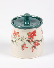 Sugar Jar - Bella's Flowers with green liner-Bella's flowers - a rich, red, small petaled flower, dainty and sweet, much like our Bella.