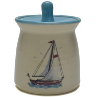 "Sugar Jar - Sailboat -  Sailboats symbolize journey and adventure. They also are associated with being carried along by the ""breath of life"